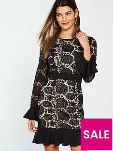 v-by-very-fluted-sleeve-and-hem-lace-dress-black