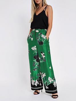 Ri Petite Petite Floral Print Wide Leg Trouser - Green