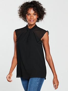 river-island-river-island-high-neck-frill-sleeve-blouse-black