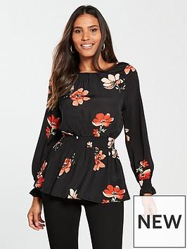 river-island-river-island-gathered-waist-printed-blouse-black