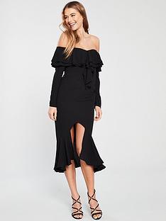 894251b2dbfe V by Very Ruffle Front And Hem Pencil Dress - Black