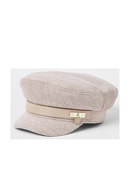 river-island-river-island-chain-trim-baker-boy-hat-beige