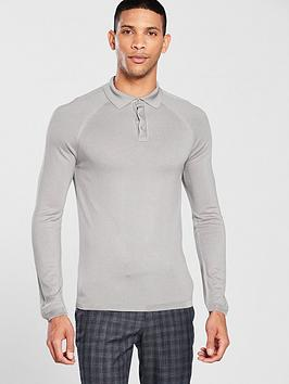 river-island-muscle-fit-long-sleeve-polo-shirt-light-grey