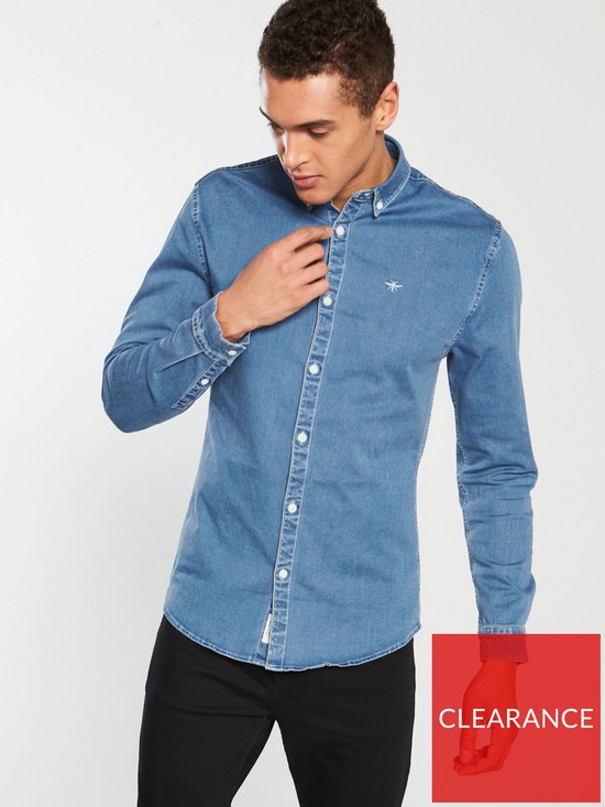 89bfd5bf River Island Long Sleeve Muscle Fit Denim Shirt - Blue | very.co.uk