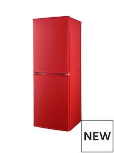Russell Hobbs Red 50cm Wide 144cm High Freestanding Fridge Freezer