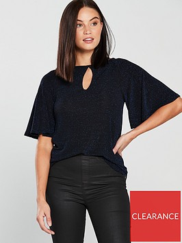v-by-very-lurex-keyhole-top-blue
