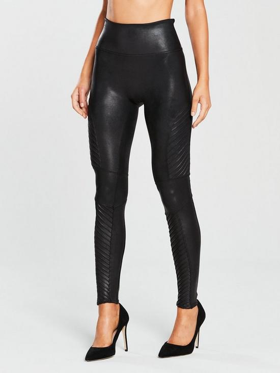0c0041fb63024 Spanx Firm Control Faux Leather Moto Leggings - Black | very.co.uk