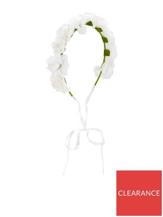Mini V By Very Girls Flower Garland Headband White Very