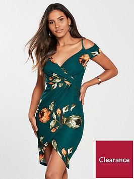 ax-paris-teal-wrap-front-printed-dress