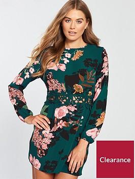 ax-paris-ax-paris-teal-printed-crochet-waist-dress
