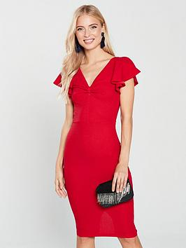 ax-paris-red-knot-front-bodycon-dress