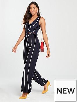 ax-paris-ax-paris-navy-crochet-waist-pin-stripe-jumpsuit