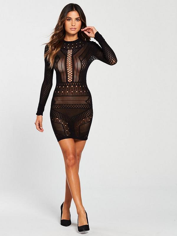 eslogan invadir Interesante  Ann Summers Janelle Circular Knit Dress - Black | very.co.uk