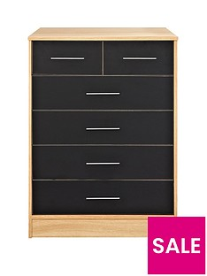 Kidspace Ohio 4 + 2 Chest of Drawers - Black, Pink