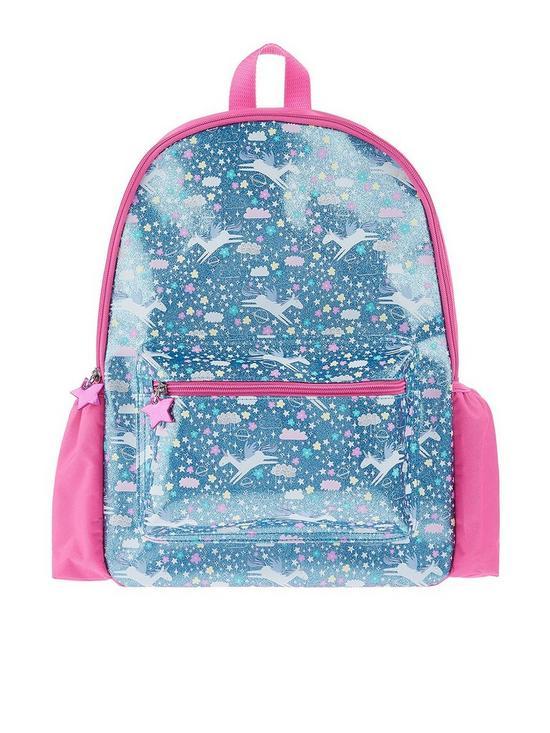 cc74c86d0df Accessorize Girls Glitter Unicorn Print Backpack - Blue   very.co.uk