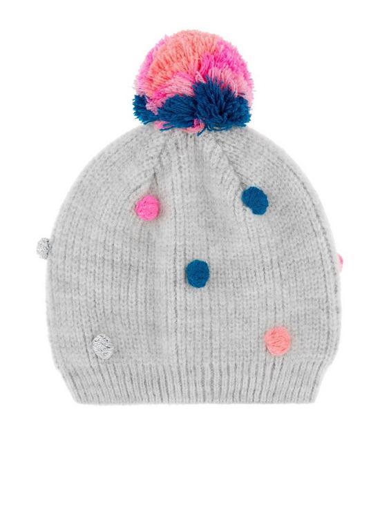 Accessorize Girls Pom Pom Beanie Hat - Grey  3e57cea530a