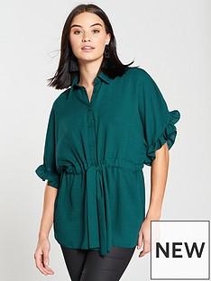 v-by-very-ruffle-sleeve-blouse-green