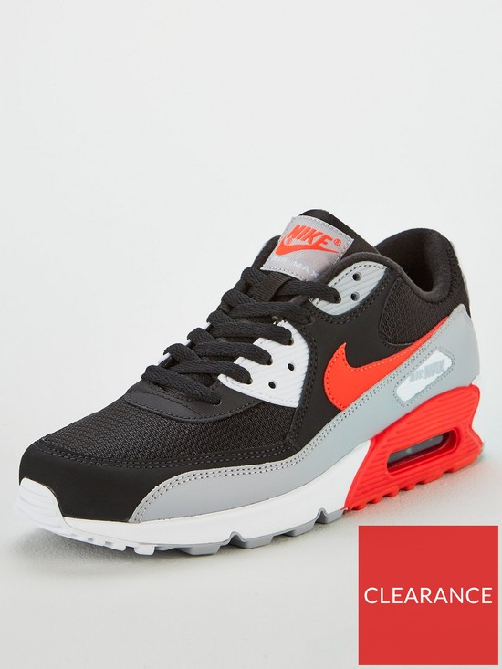 Nike Air Max 90 Essential Trainers - Black Grey Red  3b4ab50e6