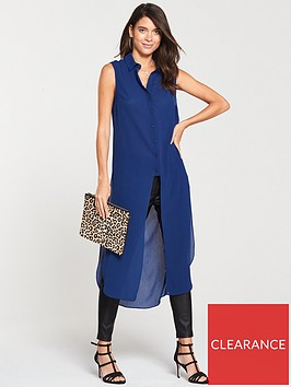 v-by-very-sleeveless-longline-shirt-cobalt