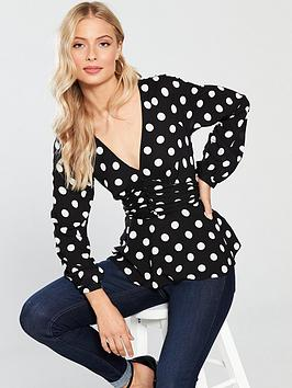 v-by-very-printed-ruched-peplum-top-spot-print