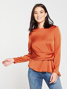 v-by-very-satin-asymmetric-front-blouse-burnt-orange