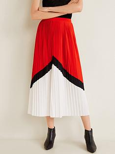 mango-pleated-midi-skirt-red