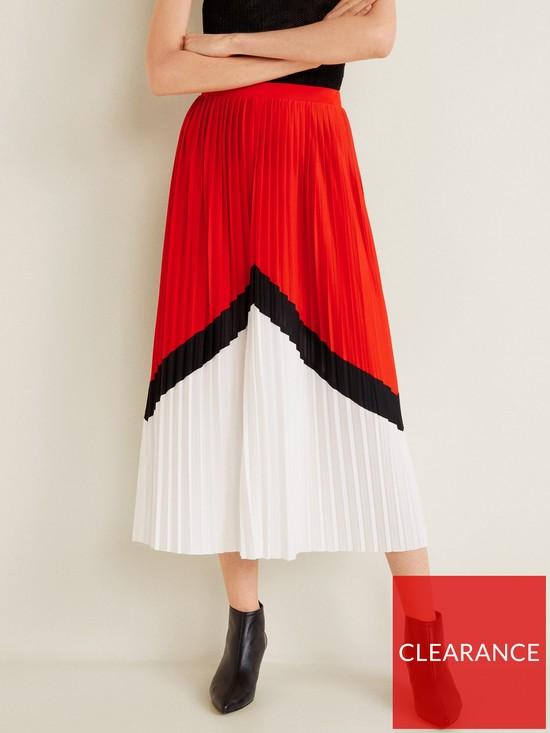 8ad17b886e4 Mango Pleated Midi Skirt - Red