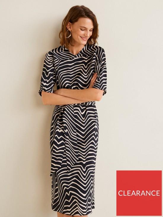 8abf18c50a38 Mango Zebra Print Midi Dress - Black/White   very.co.uk