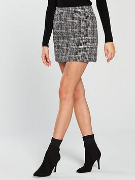 miss-selfridge-boucle-mini-skirt-mono