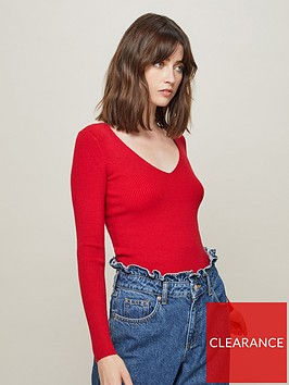 miss-selfridge-lattice-rib-knitted-top-red