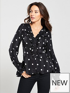 michelle-keegan-ruffle-front-button-blouse-spot
