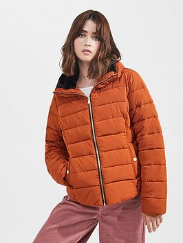 miss-selfridge-faux-fur-padded-coat-rust