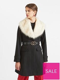cf567aac4 Miss Selfridge Miss Selfridge Belted Faux Fur Fit And Flare Coat