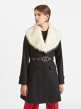 miss-selfridge-miss-selfridge-faux-fur-fit-and-flare-coat