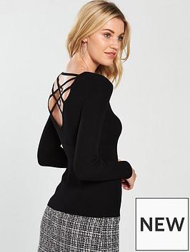 miss-selfridge-lattice-rib-knitted-top-black