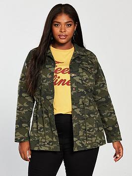 V By Very Curve Camouflage Jacket - Khaki
