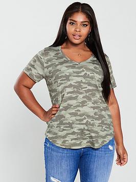 V By Very Curve Camo Print T-Shirt