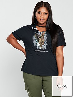 v-by-very-curve-eagle-slogan-choker-neck-t-shirt-grey