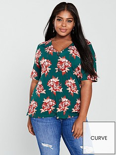 v-by-very-curve-button-detail-top-floral-print