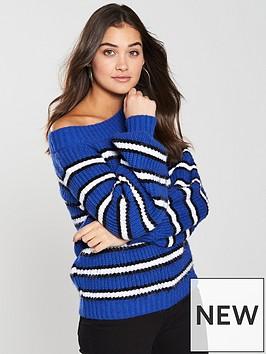 v-by-very-boat-neck-stripe-jumper-bluenbsp