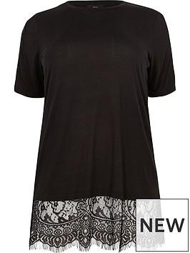 ri-plus-lace-hem-t-shirt-black