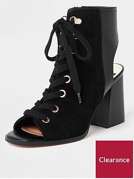 river-island-lace-up-block-heel-shoe-boot-black