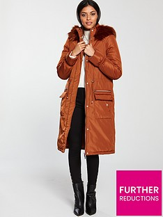 b4f09bfe575ad V by Very Patch Pocket Premium Parka - Burnt Orange