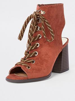 river-island-lace-up-block-heel-shoe-boot-rust