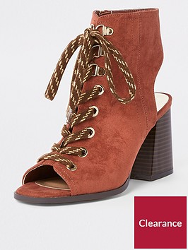 river-island-lace-up-block-heel-shoe-boot-rust