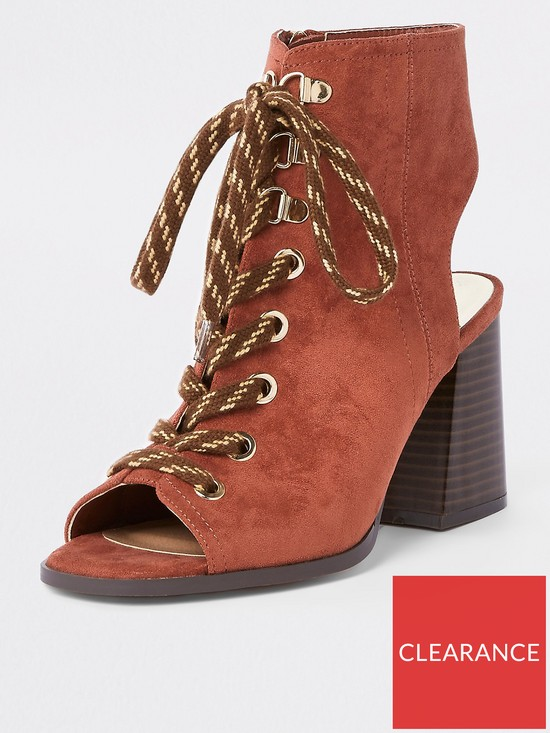 fa20ff749 River Island Lace Up Block Heel Shoe Boot - Rust