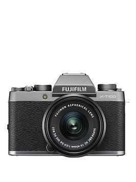 fujifilm-x-t100nbsp242mp-mirrorless-3-inch-tilt-lcd-4k-camera-silver-with-xc-15-45mm-black-lens-kit