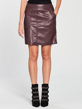 warehouse-faux-leather-a-line-skirt-burgundy