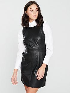 warehouse-faux-leather-waisted-dress-blacknbsp