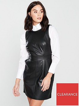 warehouse-faux-leather-waisted-dress-blacknbsp